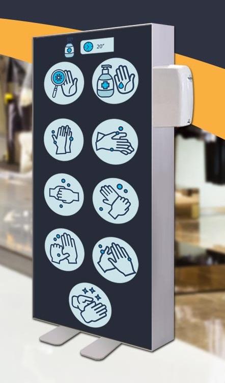 Prolutix Convid-19 Desinfectie Dispenser Textiel LED Frame Met Sensor!